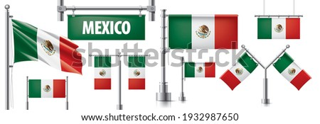 Vector set of the national flag of Mexican in various creative designs Stock photo © butenkow