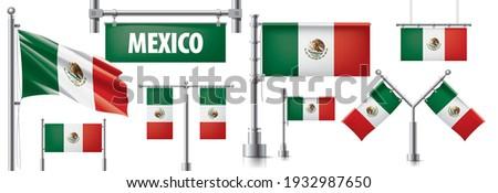 Vettore set bandiera mexican creativo Foto d'archivio © butenkow
