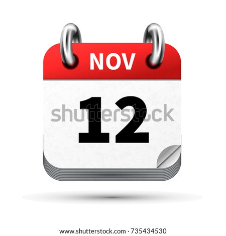 Bright realistic icon of calendar with 12 november date isolated on white Stock photo © evgeny89