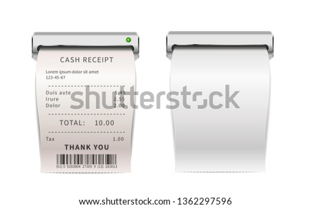 Realistic sales receipts going out from printing machine, white shopping bills . Paper financial che Stock photo © evgeny89