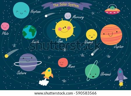 ярко Cartoon планеты Солнечная система Cute лицах Сток-фото © evgeny89
