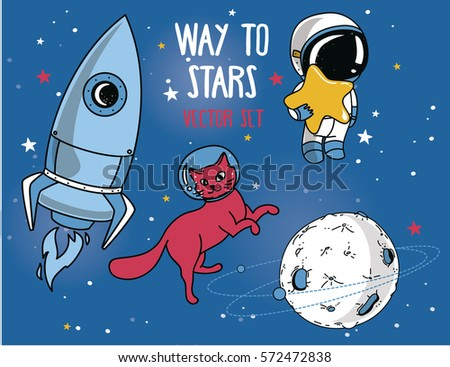 Cartoon vector doodles Space illustration. Bright colors cosmic funny picture Stock photo © balabolka