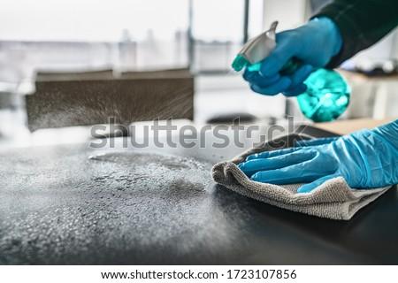 Temizlik ev mutfak masası dezenfektan sprey şişe Stok fotoğraf © Maridav