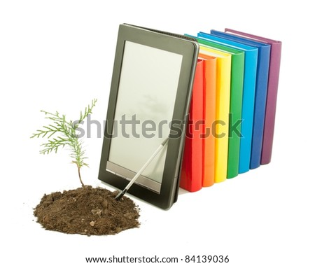 tree seedling with row of books and electronic book reader behind isolated on white stock photo © andreykr