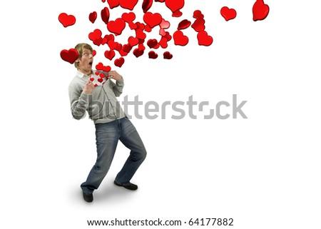 queda · amor · 3D · imagem · mulher · feliz - foto stock © dacasdo