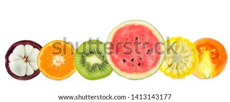 lemon grapefruit orange lime and kiwi slices isolated on whit stock photo © tetkoren