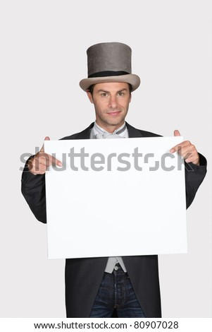Homme haut chapeau bord un message Photo stock © photography33