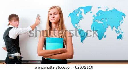 portret · twee · studenten · presentatie - stockfoto © HASLOO