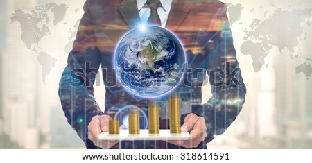businessman with earth and money elements of this image furnish stock photo © pinkblue