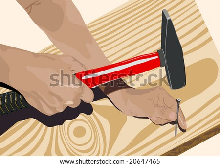 Hand holding a hammer to drive a nail into a wooden board with the camera focus on the nail Stock photo © wavebreak_media