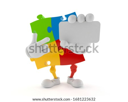 Jigsaw Solution And 3d Character Showing Solution Or Wholeness stock photo © stuartmiles