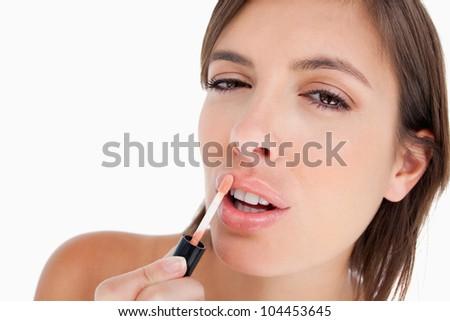 подростку блеск для губ щетка макияж концентрированный способом Сток-фото © wavebreak_media