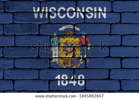 Foto stock: Flag Of Us State Of Wisconsin On Grunge Wooden Texture Precise P