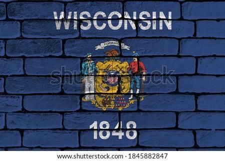 Zászló Wisconsin grunge fából készült textúra precíz Stock fotó © vepar5