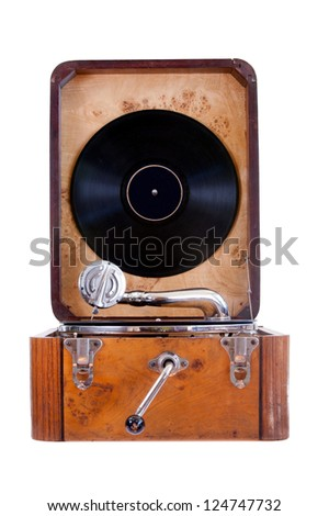 Front view of old gramophone with handle and black vinyl record. Stock photo © inxti