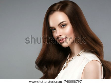 Makeup. Beauty Long Wavy Hair. Beautiful Brunette Woman over mar Stock photo © Victoria_Andreas