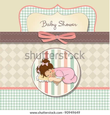 baby shower card with little baby girl play with her teddy bear  Stock photo © balasoiu