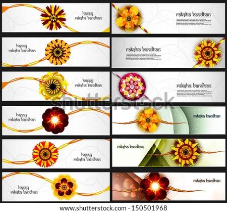 Beautiful Raksha Bandhan celebration colorful 21 headers vector  Stock photo © bharat