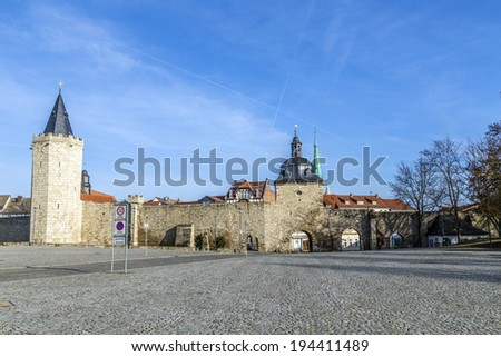 Muehlhausen, inner woman gate at historic town wall with raven t Stock photo © meinzahn