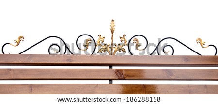 part of a wrought iron fence with blank wooden plank on white ba Stock photo © inxti