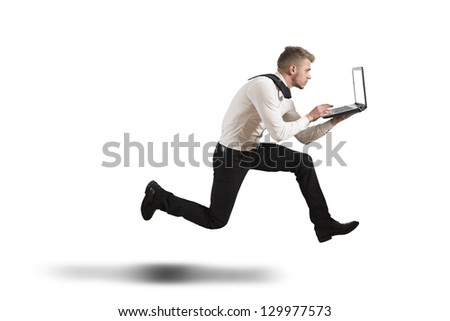 Running businesspeople. Conceot of competition. Isolated. Contains clipping path Stock photo © Kirill_M
