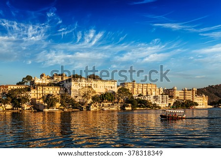 saray · göl · Hindistan · manzara · doğa · taş - stok fotoğraf © meinzahn