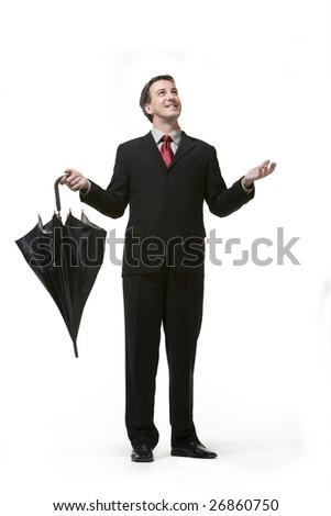 肖像 幸せ ビジネスマン 傘 白 手 ストックフォト © deandrobot