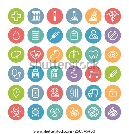 set of flat round medical icons stock photo © voysla