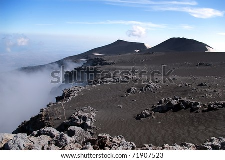 Panoramic view from mount Etna with sea and towns beneath, Sicil Stock photo © slunicko