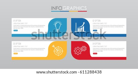 Stock photo: Infographics template with 4 choices layout connected to a Light Bulb