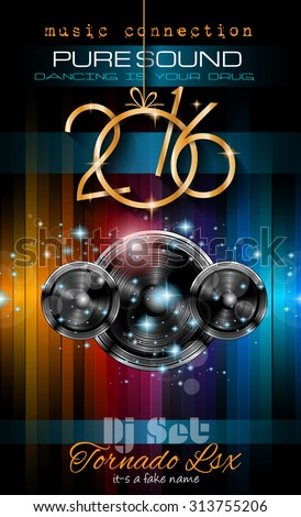 Stok fotoğraf: 2016 New Years Party Flyer For Club Music Night Special Events