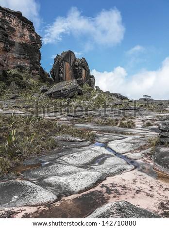 Dziwaczny starożytnych skał plateau Wenezuela ameryka Łacińska Zdjęcia stock © Mariusz_Prusaczyk