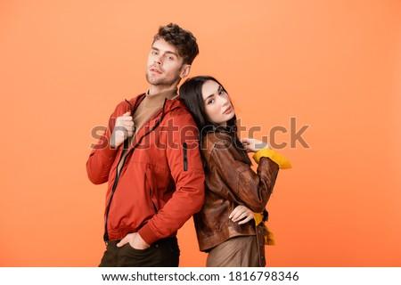 Mulher jaqueta de couro posando estúdio elegante Foto stock © feedough