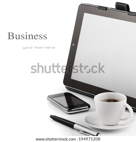 mobile phone tablet and coffee cup isolated on white background stock photo © alinamd
