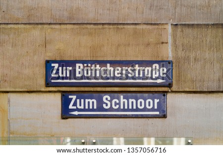 street name of  the quarter Schnoor, an old town street in downt Stock photo © meinzahn
