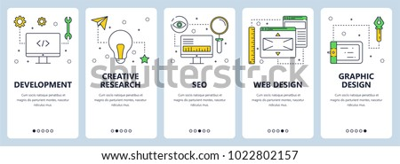 set of modern flat web icons seo development security internet and music stock photo © marysan