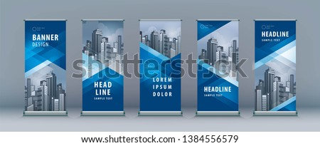 Blue Roll Up Banner template vector illustration polygon backgro Stock photo © ganpanjanee