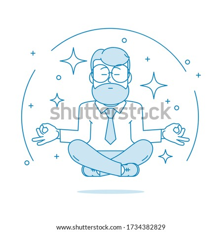 Beard man with glasses in the lotus position meditating under wa Stock photo © vlad_star