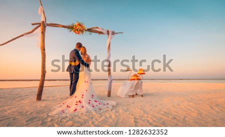 Bride and Groom Under wedding Archway. silhouette newlyweds hugs Stock photo © Victoria_Andreas