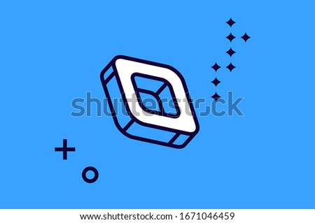 Hollow core geometric shapes and elements with lines polyhedrons Stock photo © Vanzyst