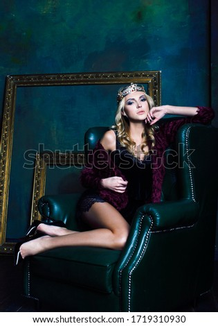 young blond woman wearing crown in fairy luxury interior with em stock photo © iordani