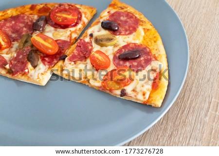 кусок горячей пиццы деревянный стол перец Сток-фото © adamr