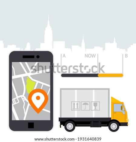 Dlivery of cargo - location tracker app and mobile gps navigatio Stock photo © gomixer