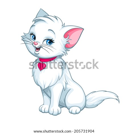 cute little furry kitten   cartoon animal character mascot drinking milk stock photo © loud-mango