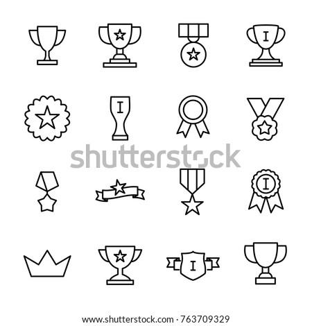 Szett érem ikonok trófea első hely dizájn elem Stock fotó © masay256