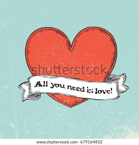 All you need is love text on vintage ribbon over red heart. Tatt Stock photo © pashabo