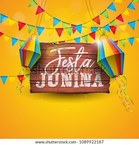 festa junina holiday greeting card design with garland and confe stock photo © sarts
