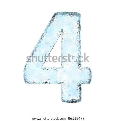 Number 4 ice. Icicles font four. Frozen alphabet symbol. Iceberg Stock photo © MaryValery