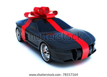 car wheels with big white gift box black background 3d renderi stock photo © user_11870380