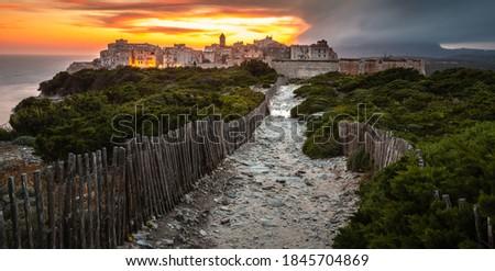 Stockfoto: Oude · binnenstad · kalksteen · klif · zuiden · kust · corsica